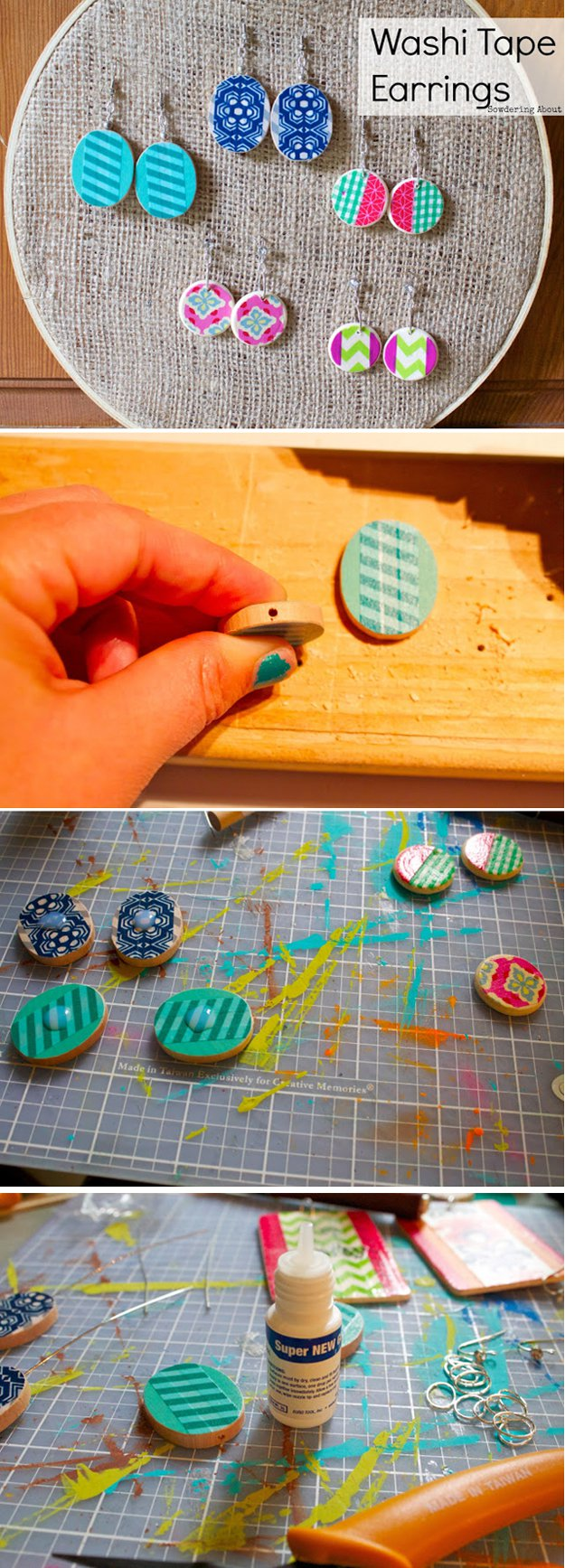Washi Tape Crafts - DIY Wooden Washi Tape Earrings - Wall Art, Frames, Cards, Pencils, Room Decor and DIY Gifts, Back To School Supplies - Creative, Fun Craft Ideas for Teens, Tweens and Teenagers - Step by Step Tutorials and Instructions #washitape #crafts #cheapcrafts #teencrafts
