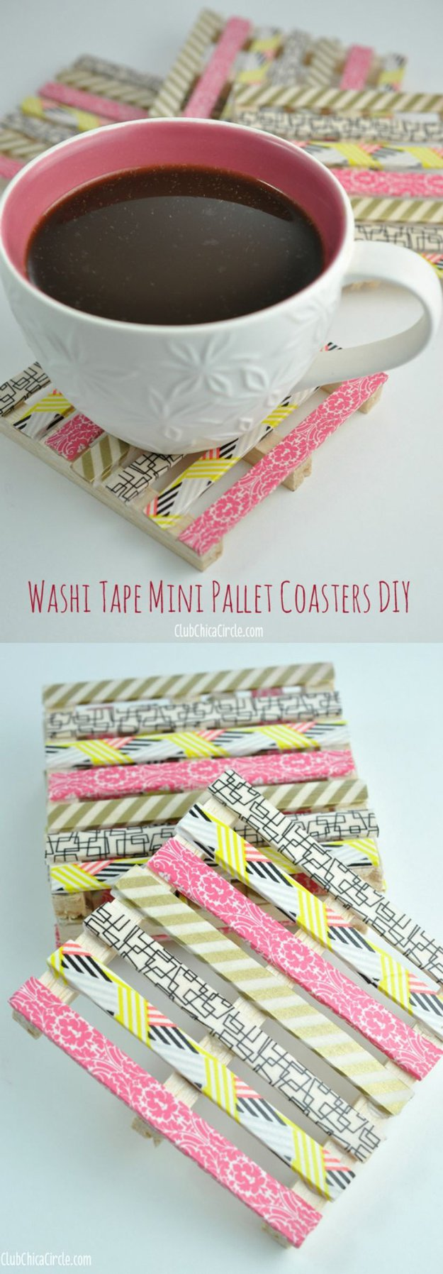 Washi Tape Crafts - Washi Tape Pallet Coasters - Wall Art, Frames, Cards, Pencils, Room Decor and DIY Gifts, Back To School Supplies - Creative, Fun Craft Ideas for Teens, Tweens and Teenagers - Step by Step Tutorials and Instructions #washitape #crafts #cheapcrafts #teencrafts