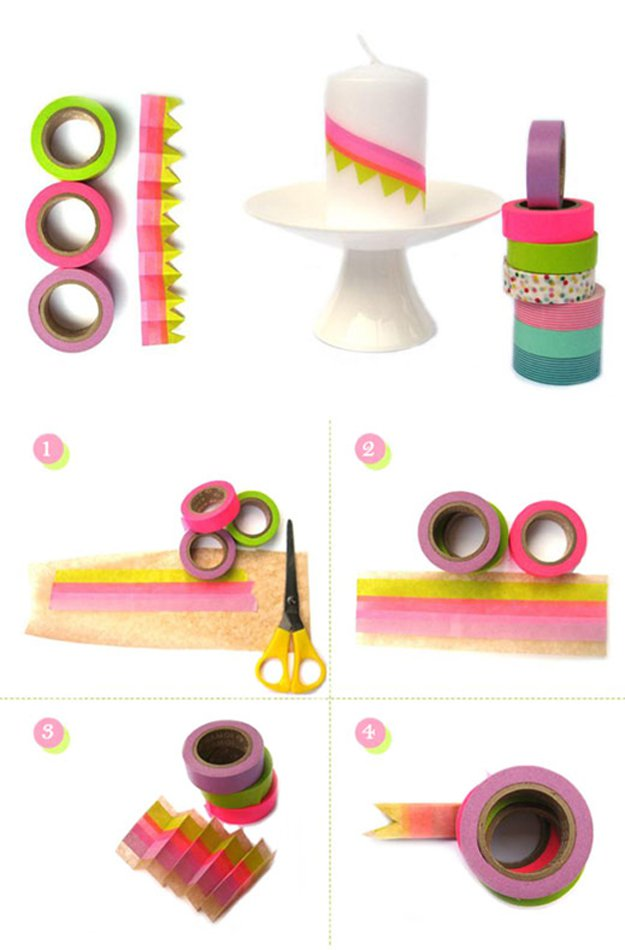 Washi Tape Crafts - DIY - Kerzen Wimpelkette - Washi Tape Candle Bunting - Wall Art, Frames, Cards, Pencils, Room Decor and DIY Gifts, Back To School Supplies - Creative, Fun Craft Ideas for Teens, Tweens and Teenagers - Step by Step Tutorials and Instructions http://diyprojectsforteens.com/washi-tape-crafts