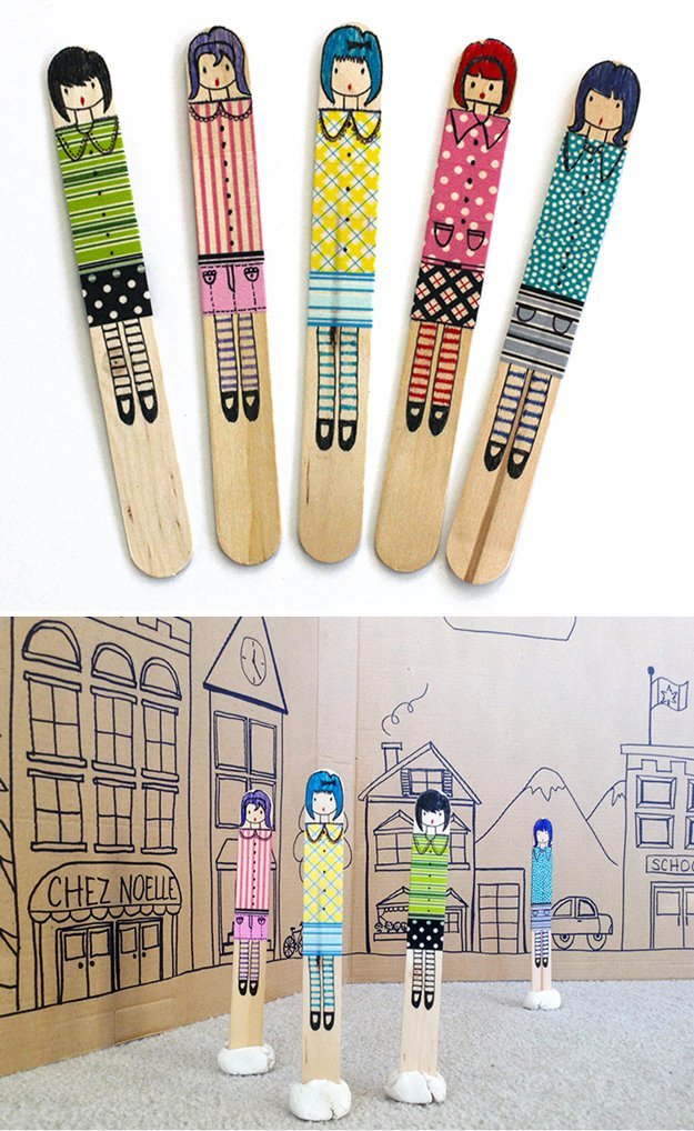Washi Tape Crafts - Craft Stick Dolls - Wall Art, Frames, Cards, Pencils, Room Decor and DIY Gifts, Back To School Supplies - Creative, Fun Craft Ideas for Teens, Tweens and Teenagers - Step by Step Tutorials and Instructions #washitape #crafts #cheapcrafts #teencrafts