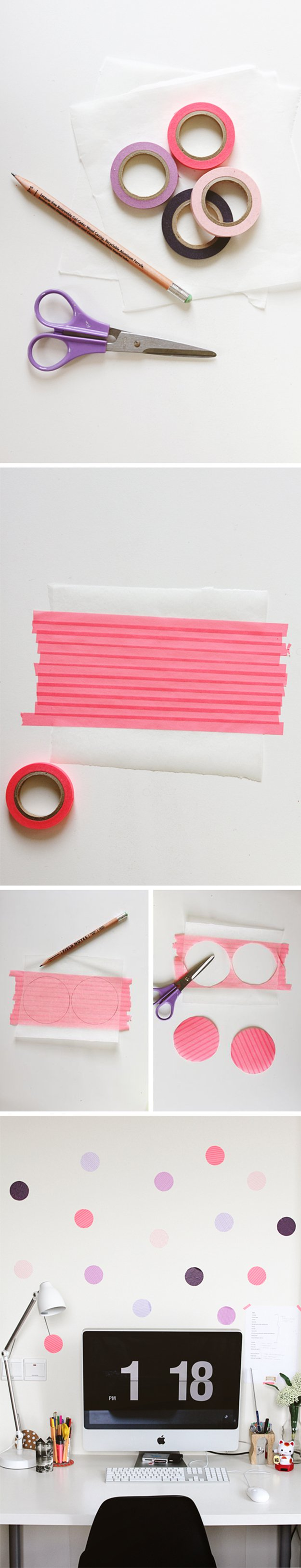 Washi Tape Crafts - DIY Dot Wall - Wall Art, Frames, Cards, Pencils, Room Decor and DIY Gifts, Back To School Supplies - Creative, Fun Craft Ideas for Teens, Tweens and Teenagers - Step by Step Tutorials and Instructions http://diyprojectsforteens.com/washi-tape-crafts