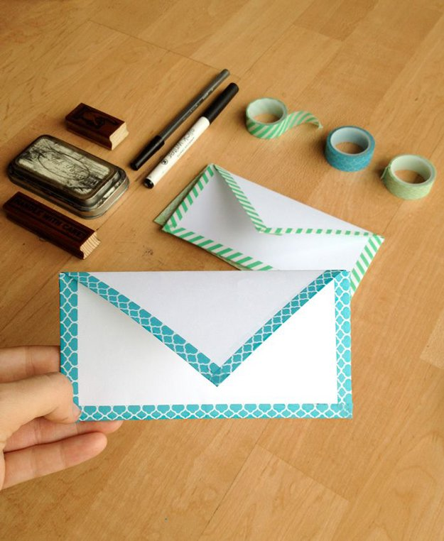 Washi Tape Crafts - DIY Envelope with Washi Tape - Wall Art, Frames, Cards, Pencils, Room Decor and DIY Gifts, Back To School Supplies - Creative, Fun Craft Ideas for Teens, Tweens and Teenagers - Step by Step Tutorials and Instructions #washitape #crafts #cheapcrafts #teencrafts
