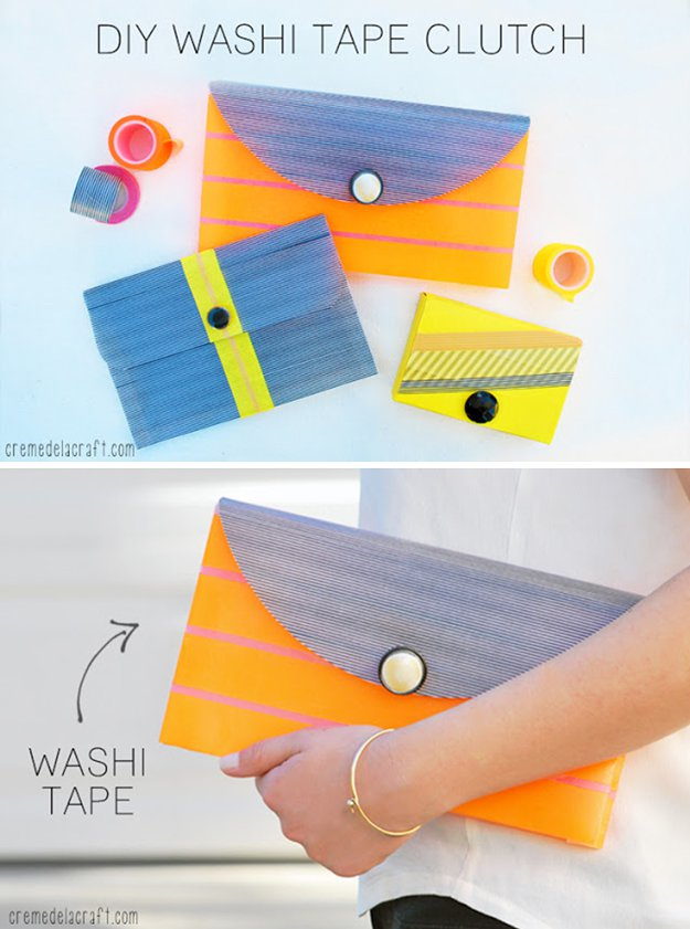 Washi Tape Crafts - DIY Washi Tape Clutch - Wall Art, Frames, Cards, Pencils, Room Decor and DIY Gifts, Back To School Supplies - Creative, Fun Craft Ideas for Teens, Tweens and Teenagers - Step by Step Tutorials and Instructions #washitape #crafts #cheapcrafts #teencrafts