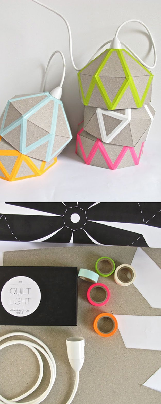 Washi Tape Crafts - DIY Quilt Light - Wall Art, Frames, Cards, Pencils, Room Decor and DIY Gifts, Back To School Supplies - Creative, Fun Craft Ideas for Teens, Tweens and Teenagers - Step by Step Tutorials and Instructions #washitape #crafts #cheapcrafts #teencrafts