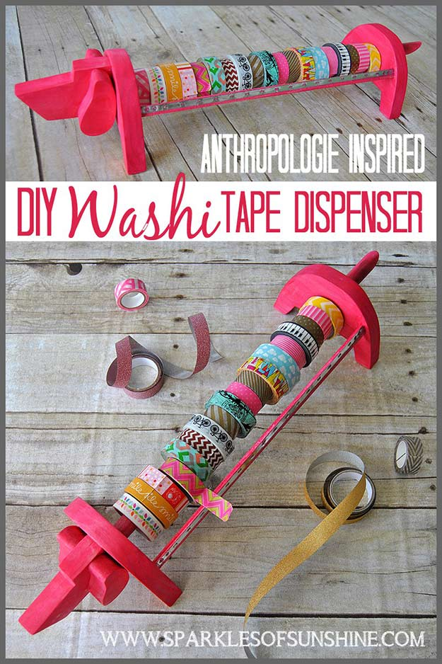 Washi Tape Crafts - Anthropologie Inspired Washi Tape Dispenser - Wall Art, Frames, Cards, Pencils, Room Decor and DIY Gifts, Back To School Supplies - Creative, Fun Craft Ideas for Teens, Tweens and Teenagers - Step by Step Tutorials and Instructions #washitape #crafts #cheapcrafts #teencrafts