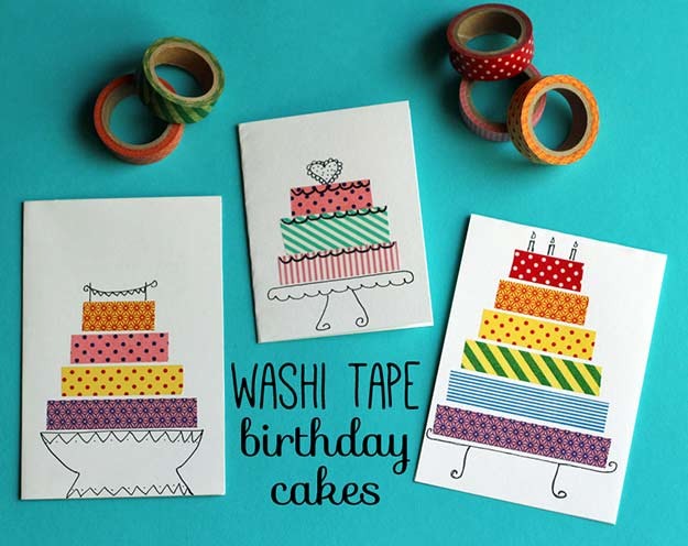 Washi Tape Crafts - Washi Tape Birthday Cake Cards - Wall Art, Frames, Cards, Pencils, Room Decor and DIY Gifts, Back To School Supplies - Creative, Fun Craft Ideas for Teens, Tweens and Teenagers - Step by Step Tutorials and Instructions #washitape #crafts #cheapcrafts #teencrafts