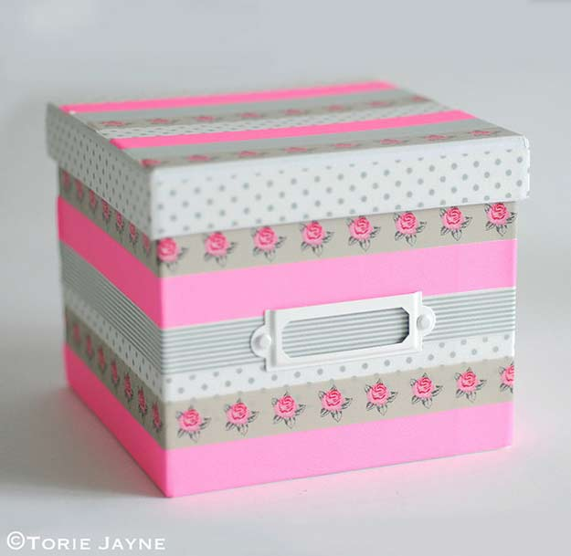 Washi Tape Crafts - Washi Tape Box - Wall Art, Frames, Cards, Pencils, Room Decor and DIY Gifts, Back To School Supplies - Creative, Fun Craft Ideas for Teens, Tweens and Teenagers - Step by Step Tutorials and Instructions #washitape #crafts #cheapcrafts #teencrafts