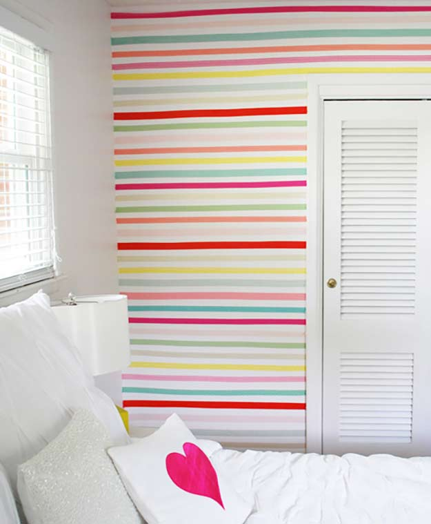 Washi Tape Crafts - Washi Tape Wall - Wall Art, Frames, Cards, Pencils, Room Decor and DIY Gifts, Back To School Supplies - Creative, Fun Craft Ideas for Teens, Tweens and Teenagers - Step by Step Tutorials and Instructions http://diyprojectsforteens.com/washi-tape-crafts