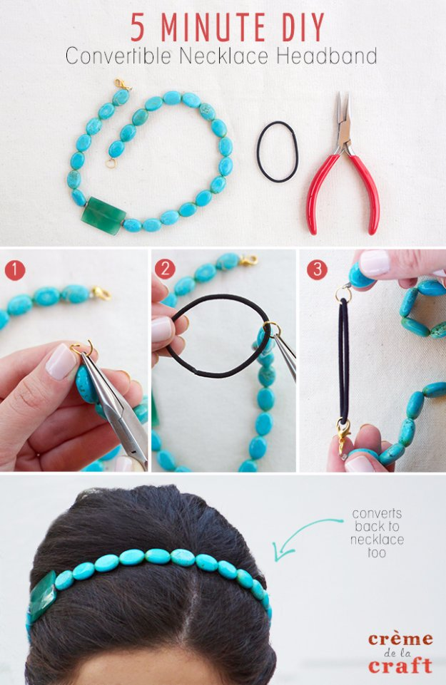 Crafts to Make and Sell - 5 Minute DIY Convertible Necklace Headband - Cool and Cheap Craft Projects and DIY Ideas for Teens and Adults to Make and Sell - Fun, Cool and Creative Ways for Teenagers to Make Money Selling Stuff to Make #teencrafts #diyideas #craftstosell