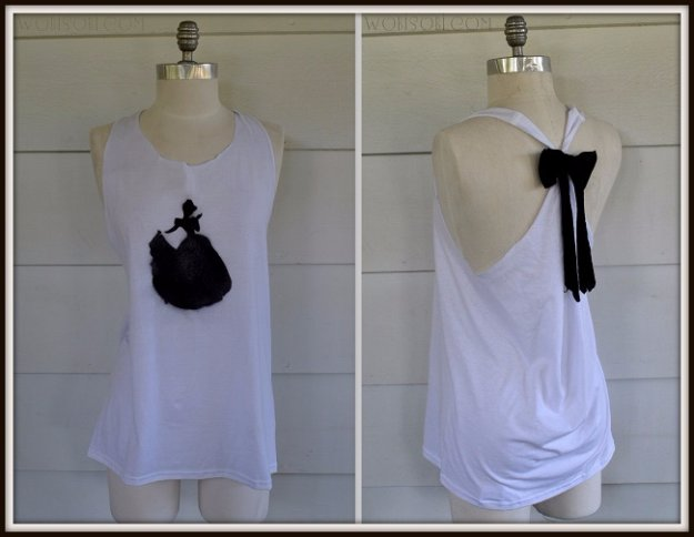 T-Shirt Makeovers - Cinderella Bow Tank T-Shirt DIY - Awesome Way to Upcycle Tees - Cool No Sew Tshirt Cutting Tutorials, Simple Summer Cutouts, How To Make Halter Tops and T-Shirt Dresses. Easy Tutorials and Instructions for Teens and Adults #tshircrafts #teenclothes #teenfashion #teendiy #teencrafts