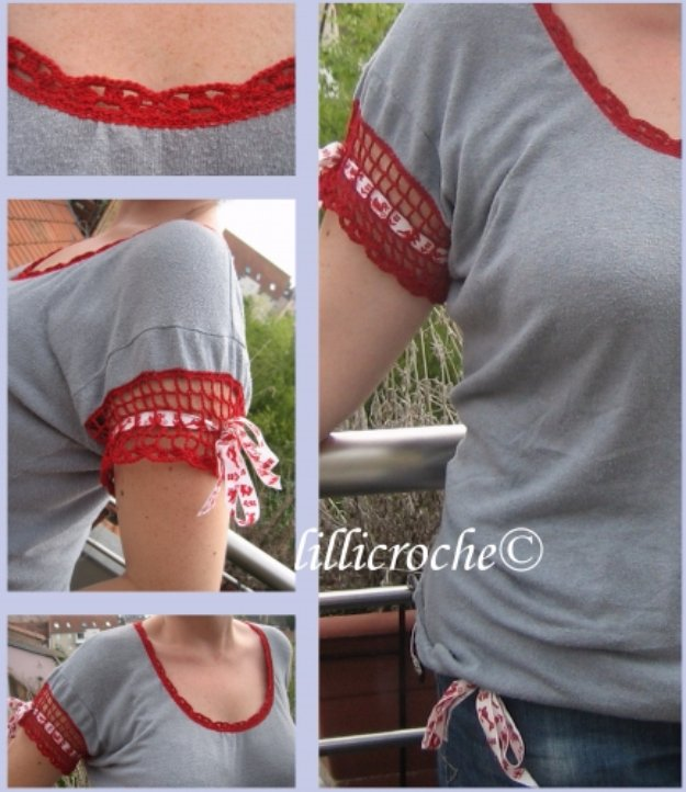 T-Shirt Makeovers - Crochet T-Shirt Makeover - Awesome Way to Upcycle Tees - Cool No Sew Tshirt Cutting Tutorials, Simple Summer Cutouts, How To Make Halter Tops and T-Shirt Dresses. Easy Tutorials and Instructions for Teens and Adults #tshircrafts #teenclothes #teenfashion #teendiy #teencrafts