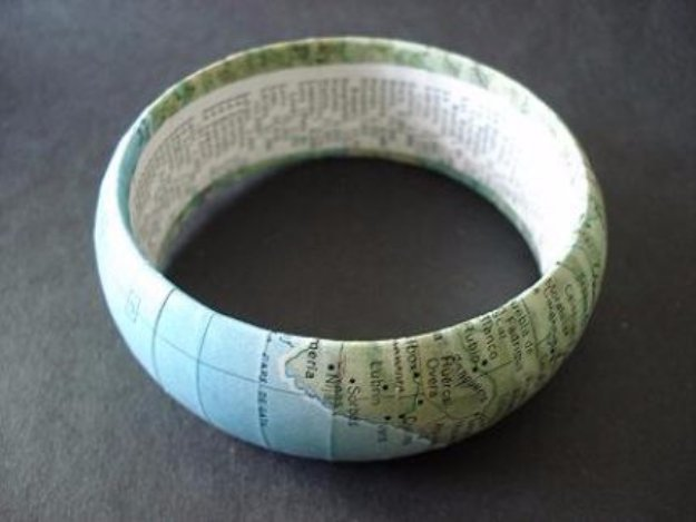 Crafts to Make and Sell - DIY Bangle from a Vintage Map - Cool and Cheap Craft Projects and DIY Ideas for Teens and Adults to Make and Sell - Fun, Cool and Creative Ways for Teenagers to Make Money Selling Stuff to Make http://diyprojectsforteens.com/crafts-to-make-and-sell-for-teens