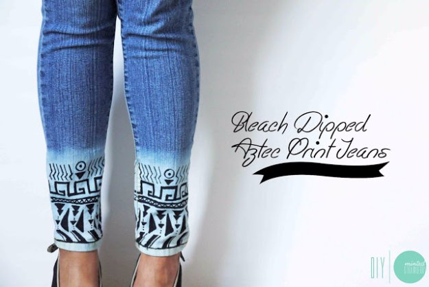 Jeans Makeovers - DIY Bleach Dipped Aztec Print Jeans - Easy Crafts and Tutorials to Refashion Your Jeans and Create Ripped, Distressed, Bleach, Lace Edge, Cut Off, Skinny, Shorts, and Painted Jeans Ideas #diyclothes #teenclothes #jeans #teencrafts #diyideas