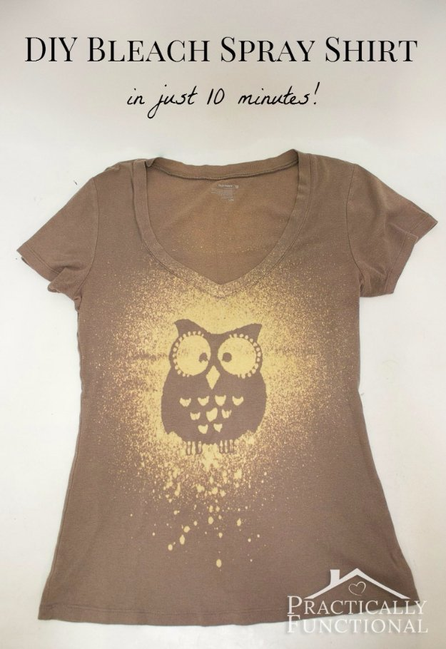 T-Shirt Makeovers - DIY Bleach Spray T-Shirt - Awesome Way to Upcycle Tees - Cool No Sew Tshirt Cutting Tutorials, Simple Summer Cutouts, How To Make Halter Tops and T-Shirt Dresses. Easy Tutorials and Instructions for Teens and Adults #tshircrafts #teenclothes #teenfashion #teendiy #teencrafts