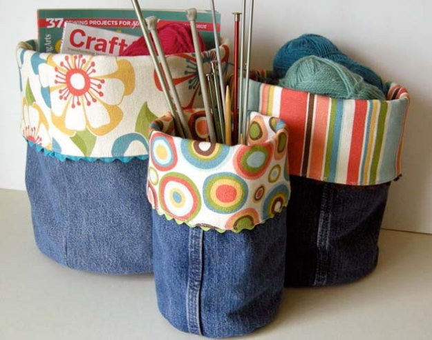 DIY Crafts with Old Denim Jeans - DIY Denim Do-It-All Bins - Cool Projects and Fashion You Can Make With Old Jeans - Fun Crafts for Teens and Adults, Inexpensive Ones!