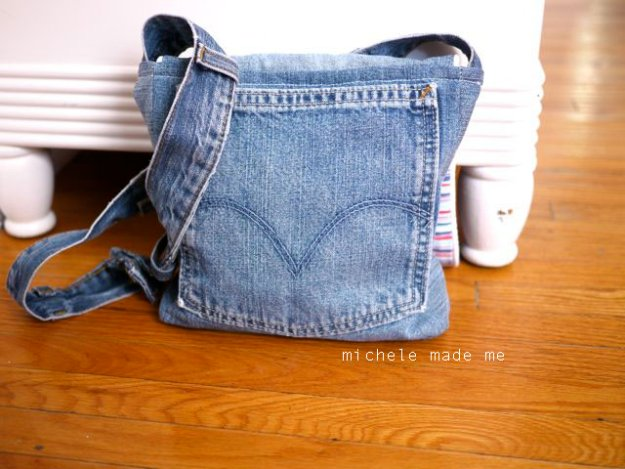 DIY Crafts with Old Denim Jeans - DIY Denim Messenger Bag - Cool Projects and Fashion You Can Make With Old Jeans - Fun Crafts for Teens and Adults, Inexpensive Ones!