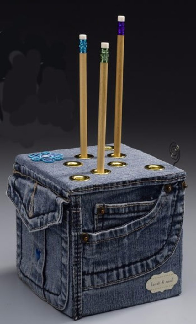 DIY Crafts with Old Denim Jeans - DIY Denim Pencil Cube - Cool Projects and Fashion You Can Make With Old Jeans - Fun Crafts for Teens and Adults, Inexpensive Ones!