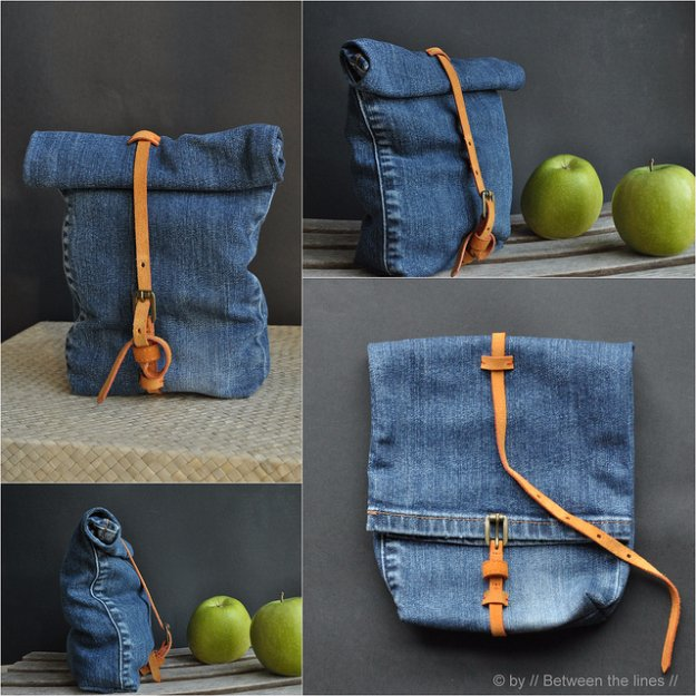 DIY Crafts with Old Denim Jeans -DIY Denim Snack Bag - Cool Projects and Fashion You Can Make With Old Jeans - Fun Crafts for Teens and Adults, Inexpensive Ones!