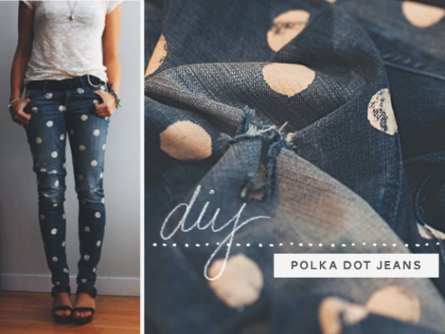 Jeans Makeovers - DIY Dotty Jeans - Easy Crafts and Tutorials to Refashion Your Jeans and Create Ripped, Distressed, Bleach, Lace Edge, Cut Off, Skinny, Shorts, and Painted Jeans Ideas http://diyprojectsforteens.com/diy-jeans-makeovers