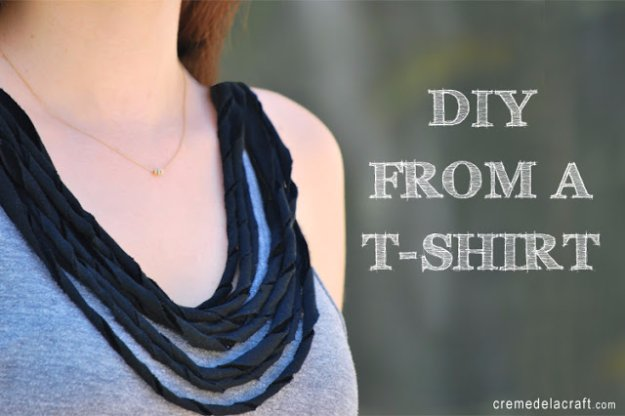 T-Shirt Makeovers - DIY Draped necklace Tank Top From a T-Shirt - Awesome Way to Upcycle Tees - Cool No Sew Tshirt Cutting Tutorials, Simple Summer Cutouts, How To Make Halter Tops and T-Shirt Dresses. Easy Tutorials and Instructions for Teens and Adults http:diyprojectsforteens.com/diy-tshirt-makeovers