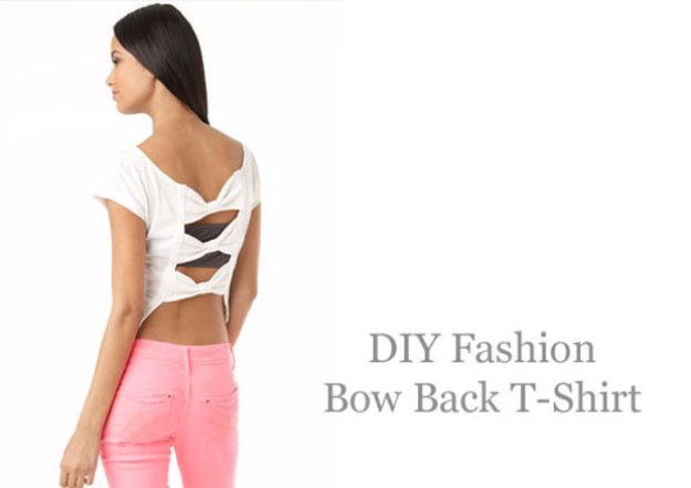 T-Shirt Makeovers - DIY Fashion Bow-Back T-Shirt - Awesome Way to Upcycle Tees - Cool No Sew Tshirt Cutting Tutorials, Simple Summer Cutouts, How To Make Halter Tops and T-Shirt Dresses. Easy Tutorials and Instructions for Teens and Adults #tshircrafts #teenclothes #teenfashion #teendiy #teencrafts