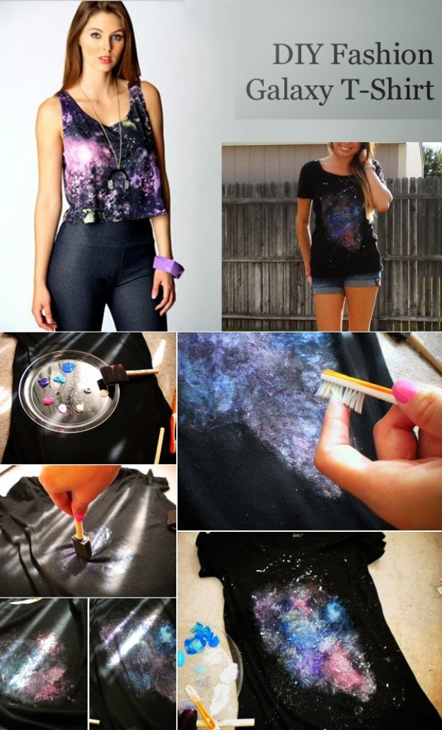 T-Shirt Makeovers - DIY Fashion Galaxy T-Shirt - Awesome Way to Upcycle Tees - Cool No Sew Tshirt Cutting Tutorials, Simple Summer Cutouts, How To Make Halter Tops and T-Shirt Dresses. Easy Tutorials and Instructions for Teens and Adults #tshircrafts #teenclothes #teenfashion #teendiy #teencrafts