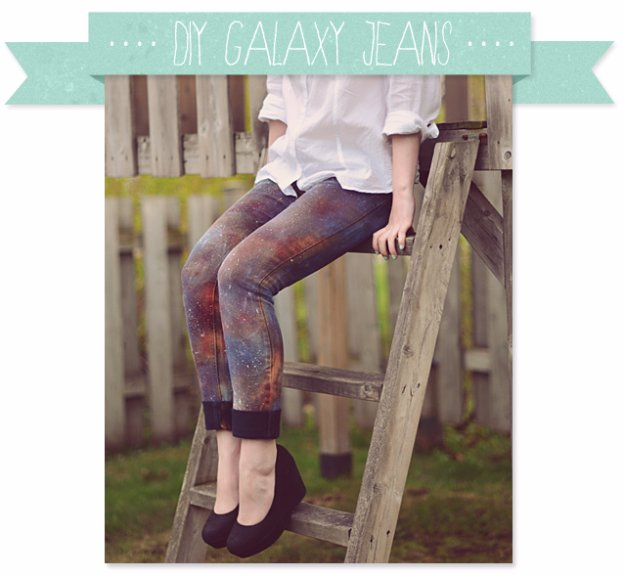 Jeans Makeovers - DIY Galaxy Jeans - Easy Crafts and Tutorials to Refashion Your Jeans and Create Ripped, Distressed, Bleach, Lace Edge, Cut Off, Skinny, Shorts, and Painted Jeans Ideas http://diyprojectsforteens.com/diy-jeans-makeovers