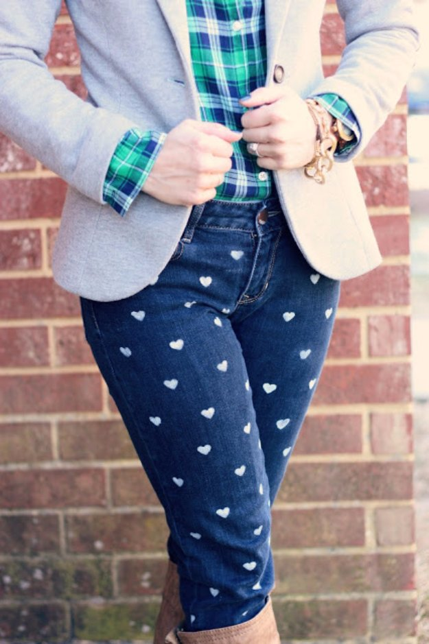 DIY Heart Patterned Jeans