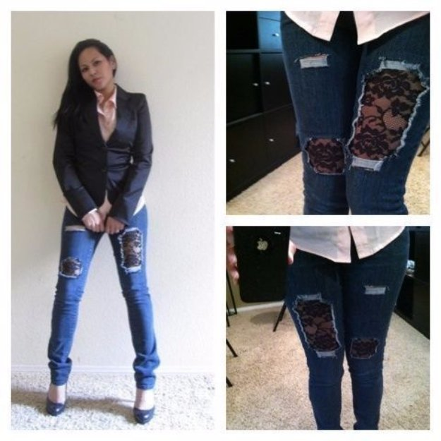 Jeans Makeovers - projectnamehere - Easy Crafts and Tutorials to Refashion Your Jeans and Create Ripped, Distressed, Bleach, Lace Edge, Cut Off, Skinny, Shorts, and Painted Jeans Ideas http://diyprojectsforteens.com/diy-jeans-makeovers