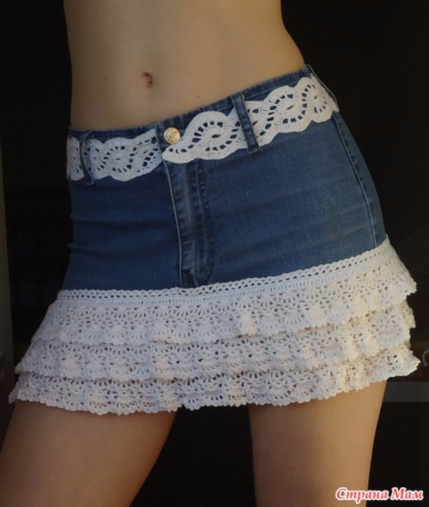 DIY Crafts with Old Denim Jeans - DIY Layered Lace Skirt - Cool Projects and Fashion You Can Make With Old Jeans - Fun Crafts for Teens and Adults, Inexpensive Ones!