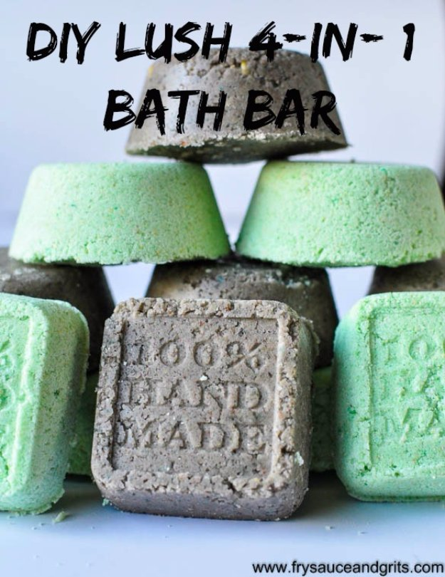 DIY Lush Inspired Recipes - DIY Lush 4-in-1 Bath Bars - How to Make Lush Products like Bath Bombs, Face Masks, Lip Scrub, Bubble Bars, Dry Shampoo and Hair Conditioner, Shower Jelly, Lotion, Soap, Toner and Moisturizer. Copycat and Dupes of Ocean Salt, Buffy, Dark Angels, Rub Rub Rub, Big, Dream Cream and More. #teencrafts #lush #beautyideas #diybeauty #bathbombs