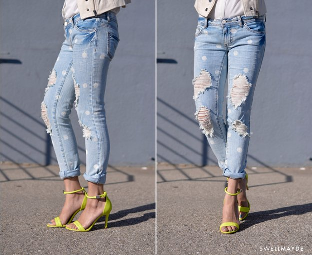 Jeans Makeovers - DIY Marc Jacobs Inspired Distressed Polka Dot Denim - Easy Crafts and Tutorials to Refashion Your Jeans and Create Ripped, Distressed, Bleach, Lace Edge, Cut Off, Skinny, Shorts, and Painted Jeans Ideas http://diyprojectsforteens.com/diy-jeans-makeovers