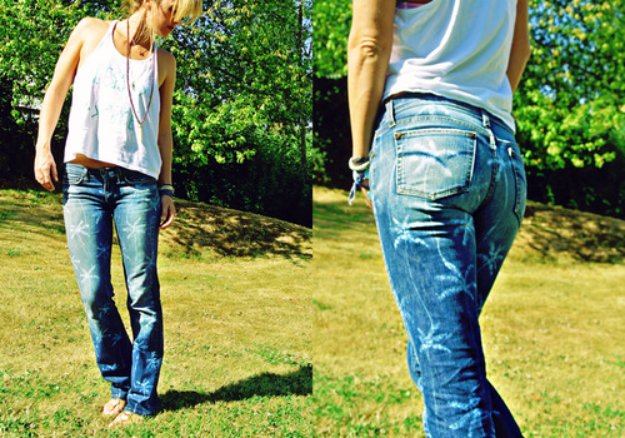 Jeans Makeovers - DIY Palm Tree Print Jeans - Easy Crafts and Tutorials to Refashion Your Jeans and Create Ripped, Distressed, Bleach, Lace Edge, Cut Off, Skinny, Shorts, and Painted Jeans Ideas http://diyprojectsforteens.com/diy-jeans-makeovers