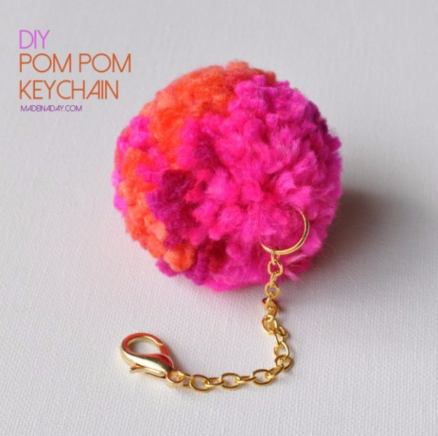 Crafts to Make and Sell - DIY Pompom Keychain - Cool and Cheap Craft Projects and DIY Ideas for Teens and Adults to Make and Sell - Fun, Cool and Creative Ways for Teenagers to Make Money Selling Stuff to Make #teencrafts #diyideas #craftstosell