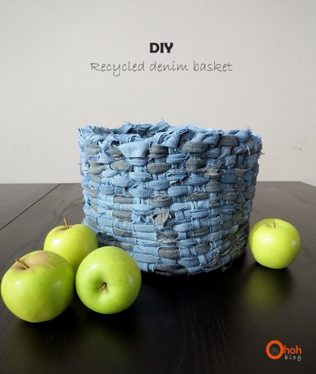 DIY Crafts with Old Denim Jeans -DIY Recycled Denim Basket - Cool Projects and Fashion You Can Make With Old Jeans - Fun Crafts for Teens and Adults, Inexpensive Ones!