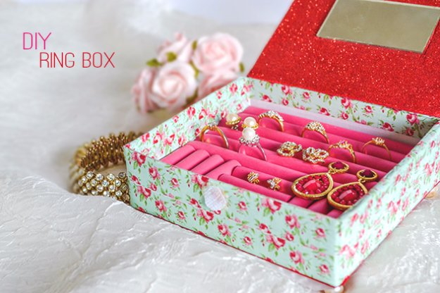 Crafts to Make and Sell - DIY Ring Box - Cool and Cheap Craft Projects and DIY Ideas for Teens and Adults to Make and Sell - Fun, Cool and Creative Ways for Teenagers to Make Money Selling Stuff to Make http://diyprojectsforteens.com/crafts-to-make-and-sell-for-teens