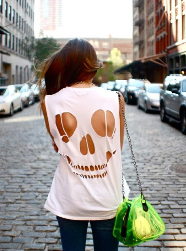 T-Shirt Makeovers - DIY Skull T-Shirt - Awesome Way to Upcycle Tees - Cool No Sew Tshirt Cutting Tutorials, Simple Summer Cutouts, How To Make Halter Tops and T-Shirt Dresses. Easy Tutorials and Instructions for Teens and Adults #tshircrafts #teenclothes #teenfashion #teendiy #teencrafts
