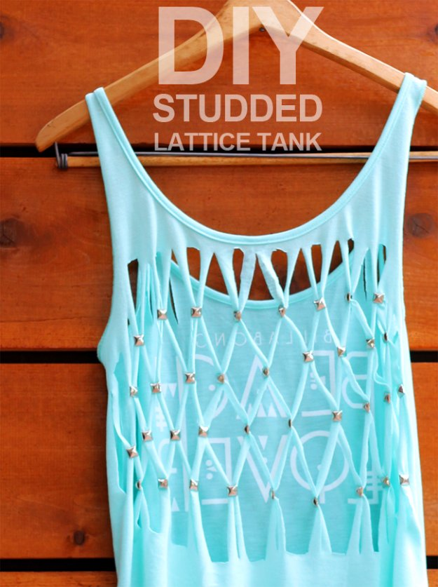 T-Shirt Makeovers - DIY Studded Lattice Tank Top From a T--Shirt - Awesome Way to Upcycle Tees - Cool No Sew Tshirt Cutting Tutorials, Simple Summer Cutouts, How To Make Halter Tops and T-Shirt Dresses. Easy Tutorials and Instructions for Teens and Adults #tshircrafts #teenclothes #teenfashion #teendiy #teencrafts