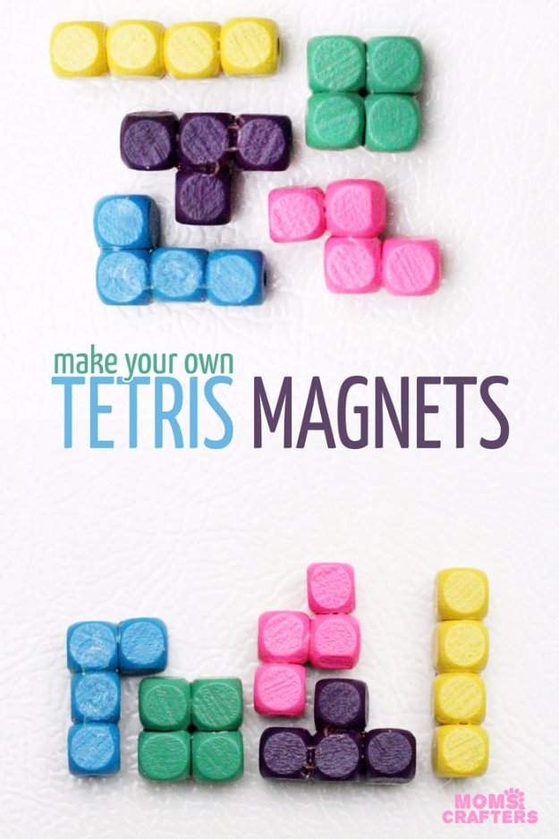 Crafts to Make and Sell - DIY Tetris Pieces Magnets - Cool and Cheap Craft Projects and DIY Ideas for Teens and Adults to Make and Sell - Fun, Cool and Creative Ways for Teenagers to Make Money Selling Stuff to Make #teencrafts #diyideas #craftstosell