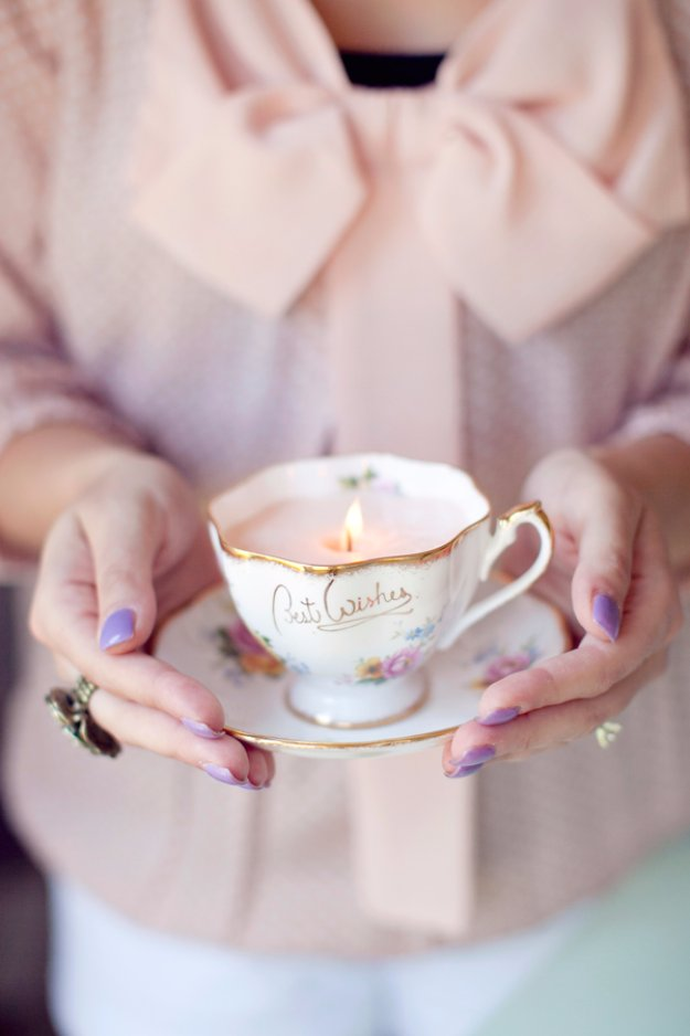 Crafts to Make and Sell - DIY Vintage Teacup Candles - Cool and Cheap Craft Projects and DIY Ideas for Teens and Adults to Make and Sell - Fun, Cool and Creative Ways for Teenagers to Make Money Selling Stuff to Make #teencrafts #diyideas #craftstosell