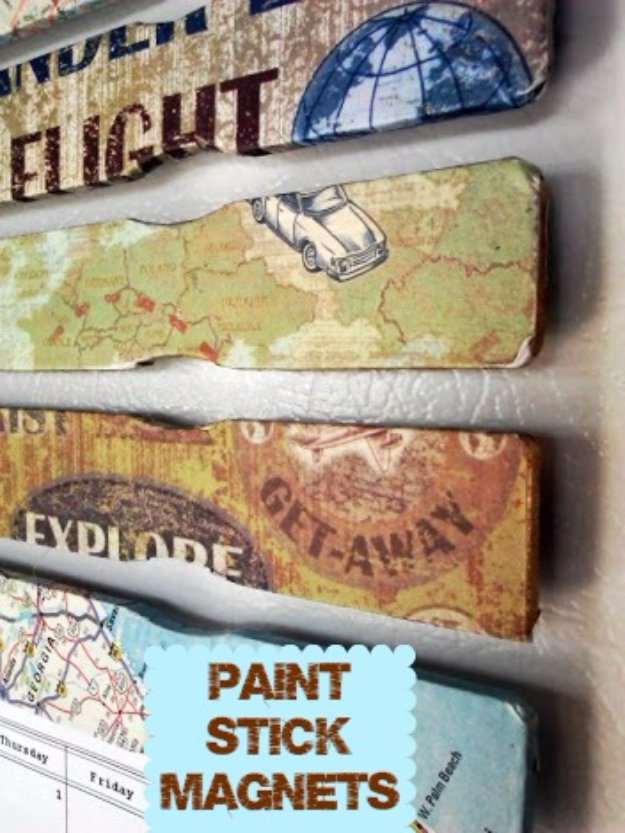 Crafts to Make and Sell - Decoupage Paint Stick Magnets - Cool and Cheap Craft Projects and DIY Ideas for Teens and Adults to Make and Sell - Fun, Cool and Creative Ways for Teenagers to Make Money Selling Stuff to Make #teencrafts #diyideas #craftstosell