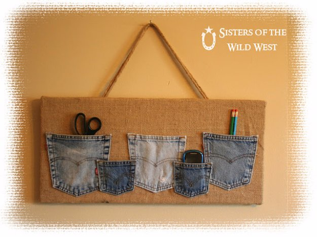 DIY Crafts with Old Denim Jeans - Denim Pocket Organizer  - Cool Projects and Fashion You Can Make With Old Jeans - Fun Crafts for Teens and Adults, Inexpensive Ones!
