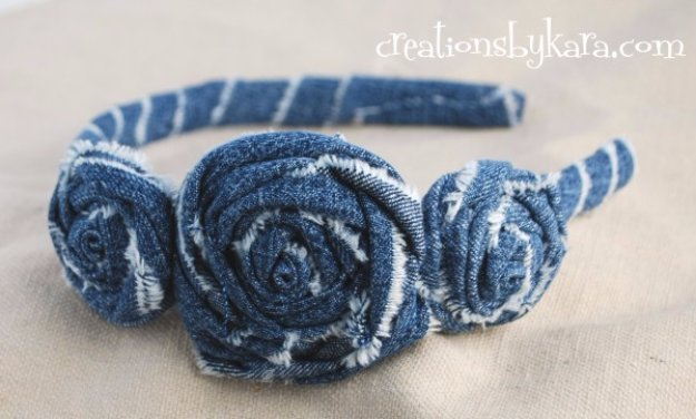 DIY Crafts with Old Denim Jeans -Denim Rosette Headband Tutorial - Cool Projects and Fashion You Can Make With Old Jeans - Fun Crafts for Teens and Adults, Inexpensive Ones!