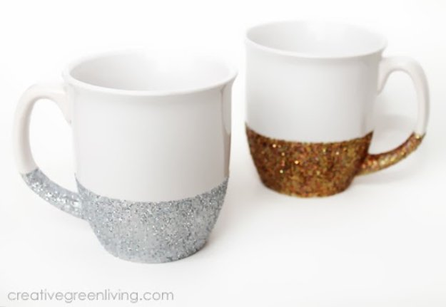 Crafts to Make and Sell - Dishwasher Safe Glitter Mugs - Cool and Cheap Craft Projects and DIY Ideas for Teens and Adults to Make and Sell - Fun, Cool and Creative Ways for Teenagers to Make Money Selling Stuff to Make #teencrafts #diyideas #craftstosell