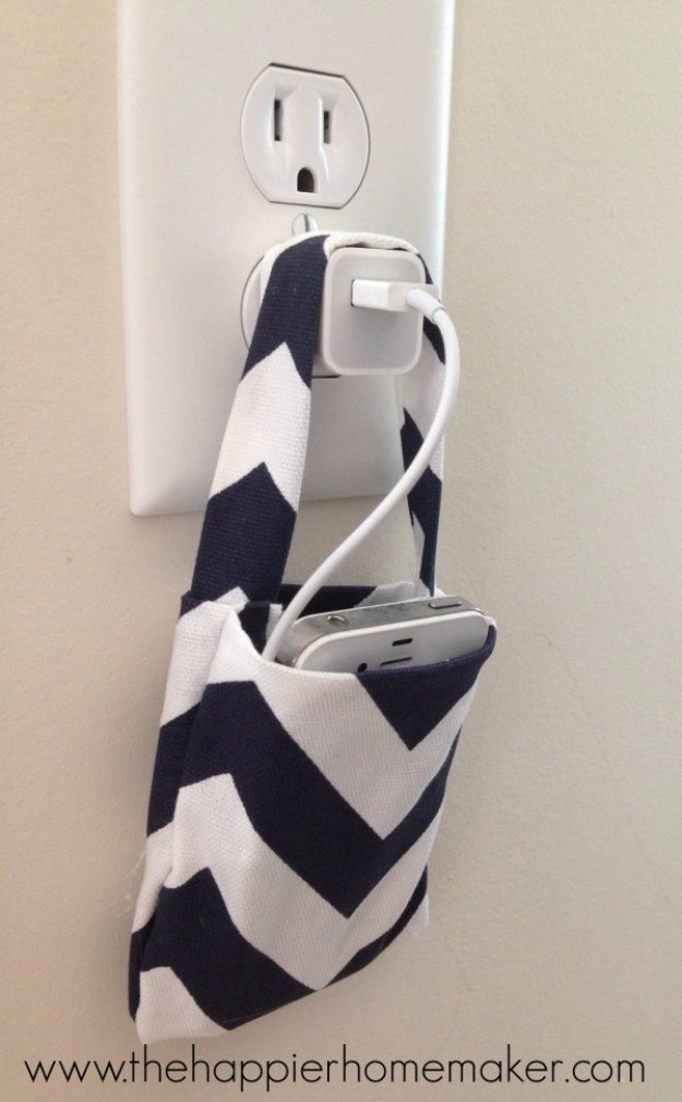 Crafts to Make and Sell - Easy DIY No Sew Phone Charging Pouch - Cool and Cheap Craft Projects and DIY Ideas for Teens and Adults to Make and Sell - Fun, Cool and Creative Ways for Teenagers to Make Money Selling Stuff to Make #teencrafts #diyideas #craftstosell