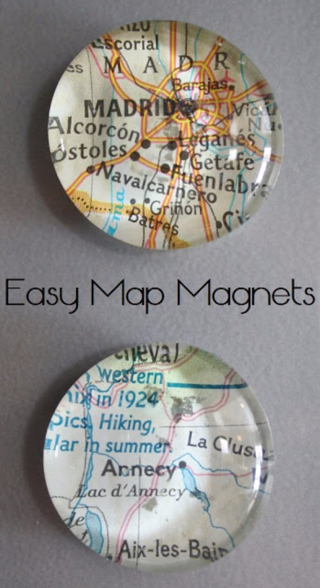 Crafts to Make and Sell - Easy Map Magnets - Cool and Cheap Craft Projects and DIY Ideas for Teens and Adults to Make and Sell - Fun, Cool and Creative Ways for Teenagers to Make Money Selling Stuff to Make #teencrafts #diyideas #craftstosell