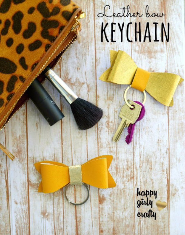 Crafts to Make and Sell - Faux Leather Bow Keychain - Cool and Cheap Craft Projects and DIY Ideas for Teens and Adults to Make and Sell - Fun, Cool and Creative Ways for Teenagers to Make Money Selling Stuff to Make #teencrafts #diyideas #craftstosell