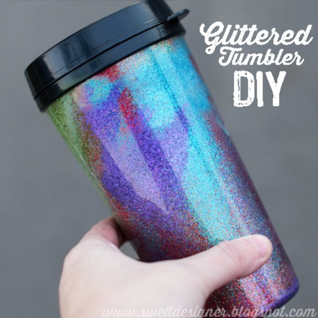 Crafts to Make and Sell - Glittered Tumbler DIY - Cool and Cheap Craft Projects and DIY Ideas for Teens and Adults to Make and Sell - Fun, Cool and Creative Ways for Teenagers to Make Money Selling Stuff to Make #teencrafts #diyideas #craftstosell