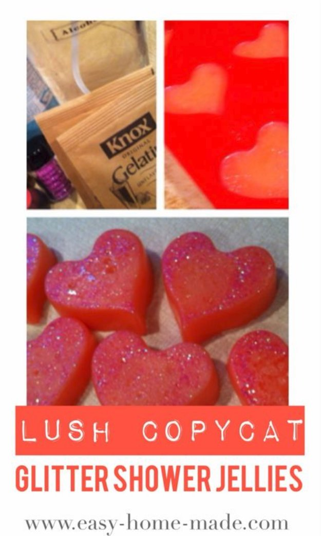 DIY Lush Inspired Recipes - Lush Copycat Glitter Shower Jellies - How to Make Lush Products like Bath Bombs, Face Masks, Lip Scrub, Bubble Bars, Dry Shampoo and Hair Conditioner, Shower Jelly, Lotion, Soap, Toner and Moisturizer. Copycat and Dupes of Ocean Salt, Buffy, Dark Angels, Rub Rub Rub, Big, Dream Cream and More. #teencrafts #lush #beautyideas #diybeauty #bathbombs