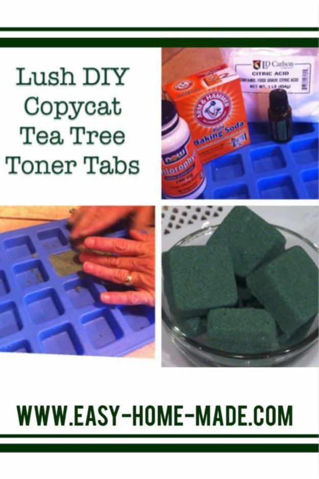 DIY Lush Inspired Recipes - Lush DIY Copycat Tea Tree Toner Tabs - How to Make Lush Products like Bath Bombs, Face Masks, Lip Scrub, Bubble Bars, Dry Shampoo and Hair Conditioner, Shower Jelly, Lotion, Soap, Toner and Moisturizer. Copycat and Dupes of Ocean Salt, Buffy, Dark Angels, Rub Rub Rub, Big, Dream Cream and More. #teencrafts #lush #beautyideas #diybeauty #bathbombs